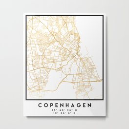 COPENHAGEN DENMARK CITY STREET MAP ART Metal Print