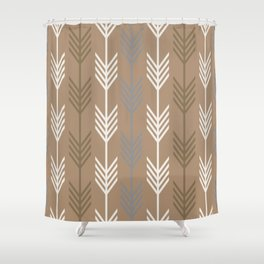 Ethnic Arrow Fletching Pattern - Neutral Brown and Grey Shower Curtain
