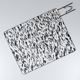Inky Jet, Charcoal, Winter Gray Painted Dashes on White Picnic Blanket
