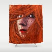 redhead Shower Curtains featuring redhead by Nuria Mrtz. FotoArt