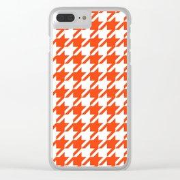 Florida fan gators university orange and blue team spirit football college sports houndstooth Clear iPhone Case