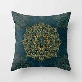 Golden Flower Mandala on Dark Turquoise Throw Pillow