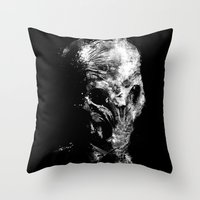 silent hill Throw Pillows featuring Silent by zerobriant