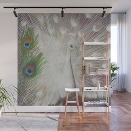 White Peacock Bird and Feathers Art Print Wall Mural