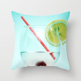 Cocktail with lemon slice, cherry and a straw Throw Pillow