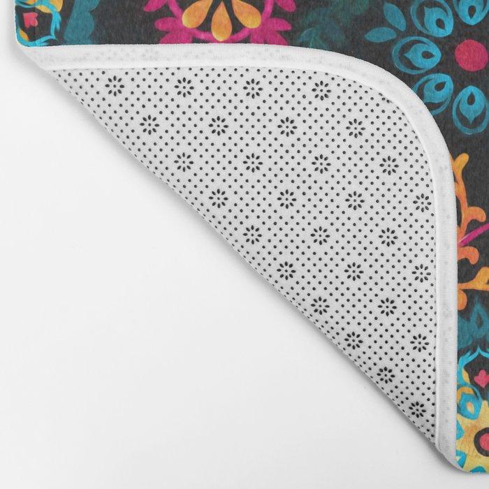 Suzani Inspired Pattern on Black Bath Mat