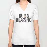 guns V-neck T-shirts featuring Guns Blazing by DeMoose_Art