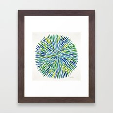 Watercolor Burst – Blue & Green Framed Art Print