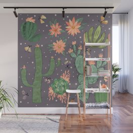 Succulents in Purple Wall Mural