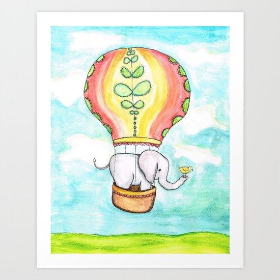 Elephant and Bird Hot Air Balloon Ride Art Print