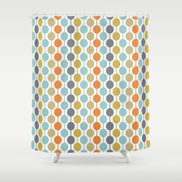 Retro Circles Mid Century Modern Background Shower Curtain