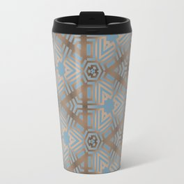 Beige and Blue Contemporary Tribal Pattern Travel Mug