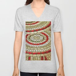Mosaic Circular Pattern In Red and Gold Unisex V-Neck