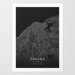 Havana, Cuba - Dark Map Art Print