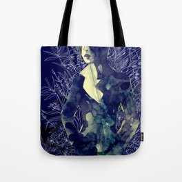 Shadow-man in conscious flowering ornament   Tote Bag