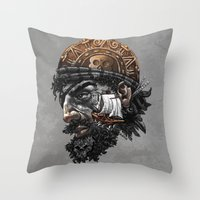 pirate ship Throw Pillows featuring Pirate by Kiptoe