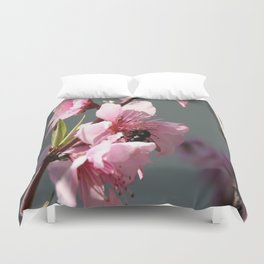 Unidentified Winged Insect On Peach Tree Blossom Duvet Cover