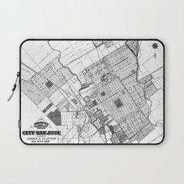 Vintage Map of San Jose California (1886) BW Laptop Sleeve