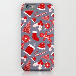 Cute Festive Red Illustrations Christmas Pattern iPhone Case