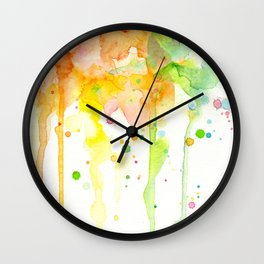 Rainbow Watercolor Pattern Texture Wall Clock