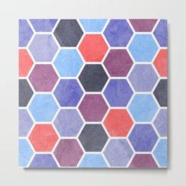 Purple and Blue Beehive Geometric Textured Digital Pattern Metal Print