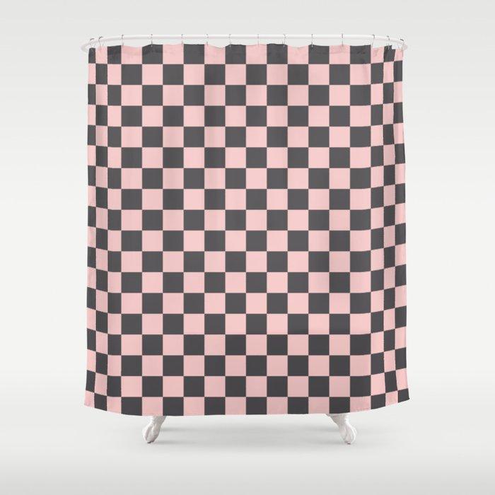 Gingham Millennial Pink Blush Rose Quartz Coco Brown Neapolitan Checked Shower Curtain By Sharonmau