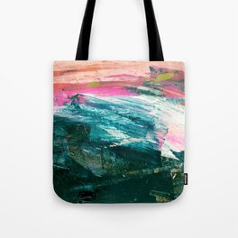 Meditate [4]: a vibrant, colorful abstract piece in bright green, teal, pink, orange, and white Tote Bag