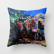 Nighttime Cafe Throw Pillow
