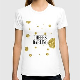 Champagne Sign Black And Gold Party Decor Bar Decorations Drink Store Poster Printable ARt Champagne T-shirt