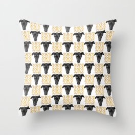 Black Greyhound Faces & Decorative Butterfly Patterns Throw Pillow