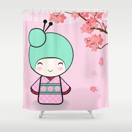 Kokeshi doll - Sakura Shower Curtain