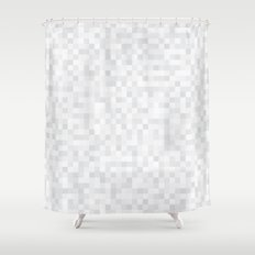 White Cubism Shower Curtain