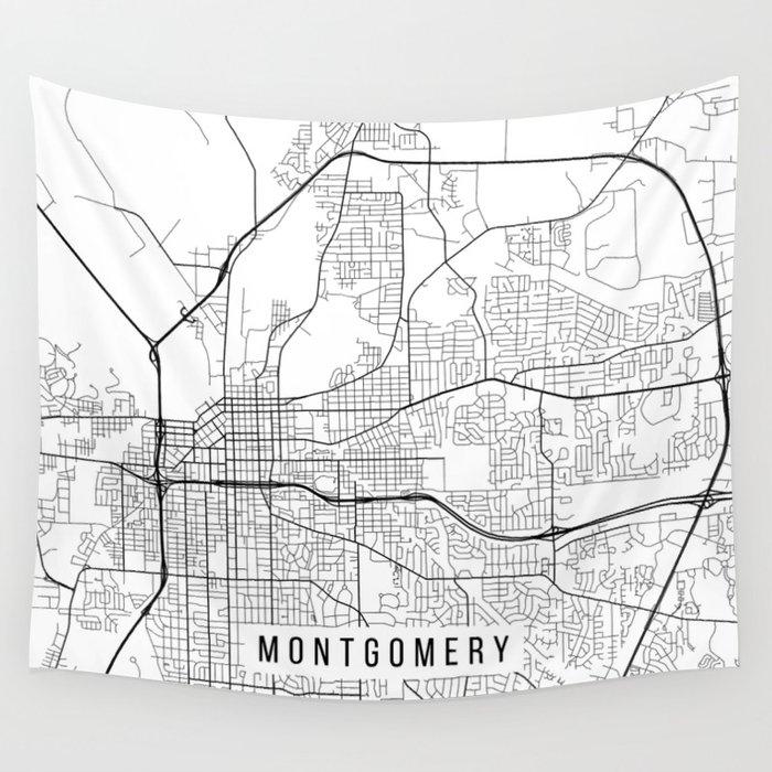 Montgomery Map, Alabama USA - Black & White Portrait Wall Tapestry on alabama georgia map, alabama california map, alabama ohio map, alabama kentucky map, alabama south carolina map,