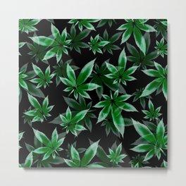 Marijuana leaf  seamless pattern on black background Metal Print