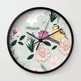 Joyful winter muted floral pattern with bird Wall Clock