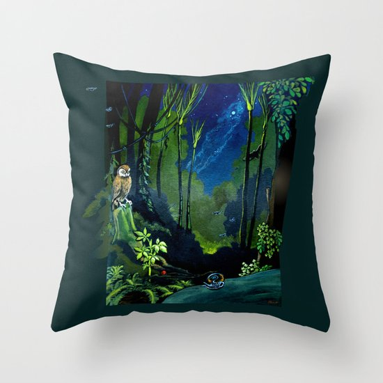 Silent Night in the New Zealand Forest Throw Pillow