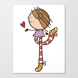 Girl with long legs and a love heart Canvas Print