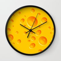 cheese Wall Clocks featuring Cheese by MikiMikibo