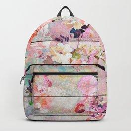 Summer pastel pink purple floral watercolor rustic striped wood pattern Backpack