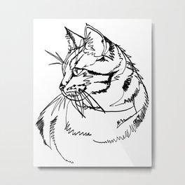 Tabby Cat Black Ink Drawing Metal Print
