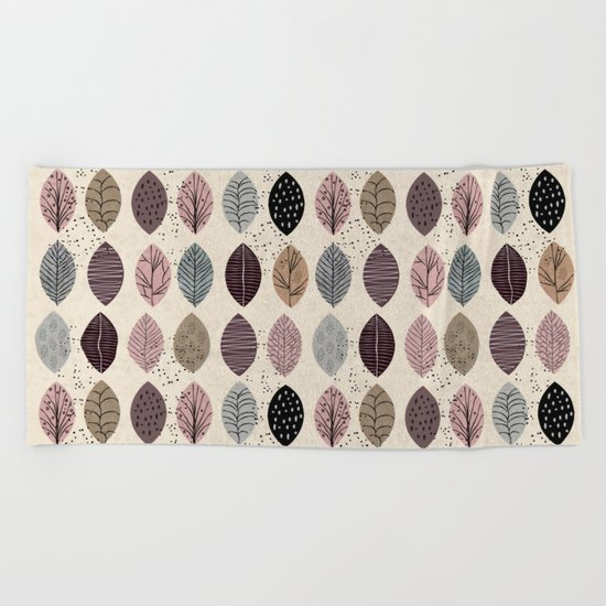 Nature Inspired Leaves Beach Towel