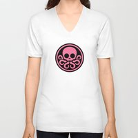 hydra V-neck T-shirts featuring Pink Hydra by Arne AKA Ratscape