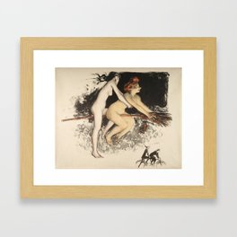 Witches on a Broomstick Framed Art Print