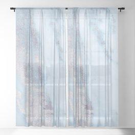 Light Blue Gray Marble Sheer Curtain