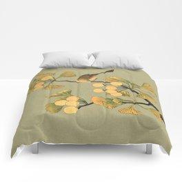 Bird in Ginkgo Tree Comforters