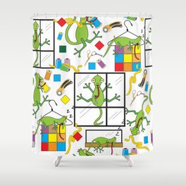 Fugitive in the Quilting Studio Shower Curtain