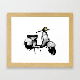 White Vespa Scooter Framed Art Print