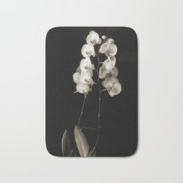 Orchids in monochrome Bath Mat