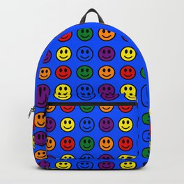 Blue Smiley Faces Pride Rainbow Colors Backpack