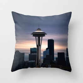 Space Needle Sunset - Seattle Nights Throw Pillow